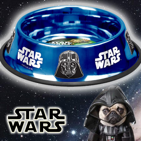 Platinum Pets Star Wars Stainless Steel Non-Tip Bowl with Darth Vader Design