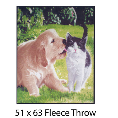 Dog Kissing Cat Fleece Throw
