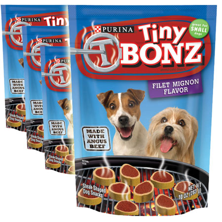 4 Pack -Tiny  Bonz 10oz Bag - Treat your pups! 40oz Total!